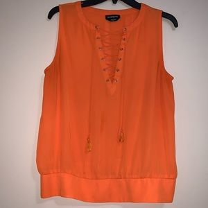 Bright Orange Tie Up Blouse from Bebe